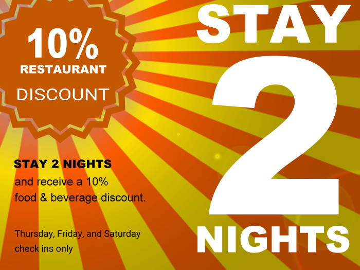 2 day hotel room discount package